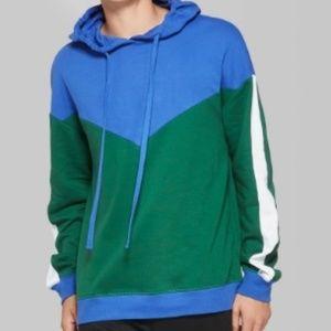 Color Block Terry Hoodie Sweatshirt nwt M